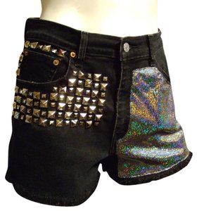 Levi's High Waist Holo Holographic Silver Denim Jean Size 8 Medium Studded Ooak Custom Upcycled Cut Off Shorts black