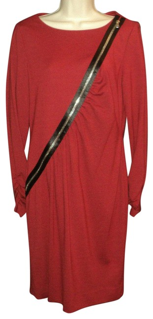 Item - Dark Red Non-functional Zippered Accent Knee Length Long Sleeves Mid-length Work/Office Dress Size 10 (M)