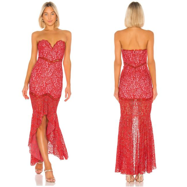 Item - Pink Keva Strapless Guipure Lace Gown Long Cocktail Dress Size 12 (L)