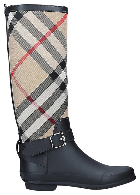 Item - Black Simeon Checked Textile and Rubber Wellington Boots/Booties Size EU 38 (Approx. US 8) Regular (M, B)