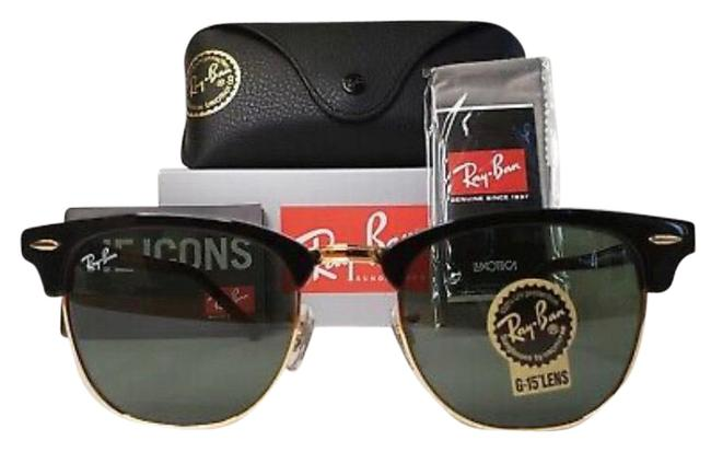 Ray-Ban Black Frame / Classic Green G-15 Lenses Clubmaster Rb3016 W0365 51mm Standard Size Sunglasses Ray-Ban Black Frame / Classic Green G-15 Lenses Clubmaster Rb3016 W0365 51mm Standard Size Sunglasses Image 1