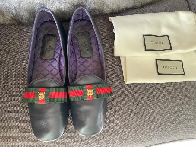 Gucci Dark Blue Web Leather Loafers Flats Size EU 37.5 (Approx. US 7.5) Regular (M, B) Gucci Dark Blue Web Leather Loafers Flats Size EU 37.5 (Approx. US 7.5) Regular (M, B) Image 5