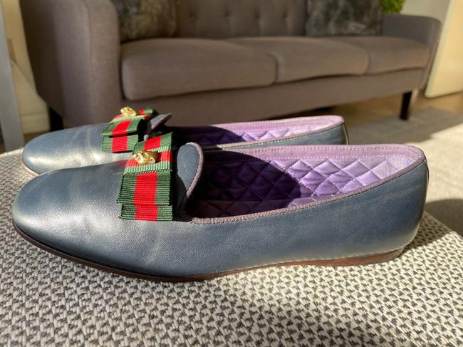 Gucci Dark Blue Web Leather Loafers Flats Size EU 37.5 (Approx. US 7.5) Regular (M, B) Gucci Dark Blue Web Leather Loafers Flats Size EU 37.5 (Approx. US 7.5) Regular (M, B) Image 7
