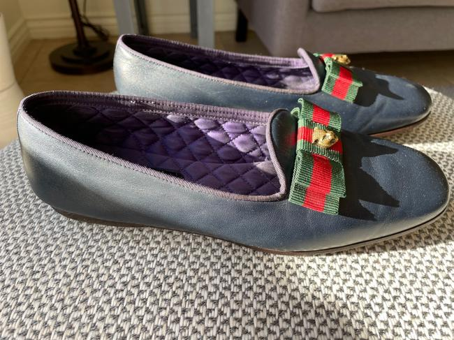 Gucci Dark Blue Web Leather Loafers Flats Size EU 37.5 (Approx. US 7.5) Regular (M, B) Gucci Dark Blue Web Leather Loafers Flats Size EU 37.5 (Approx. US 7.5) Regular (M, B) Image 10