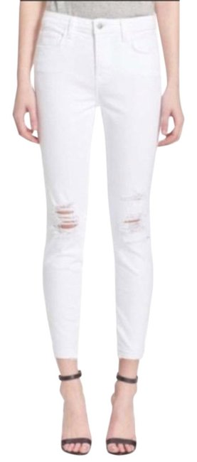 Item - White Distressed Margot High Rise In Blanc Skinny Jeans Size 24 (0, XS)