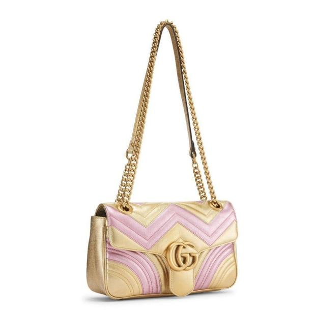 Item - GG Marmont Yellow Pink Leather Shoulder Bag