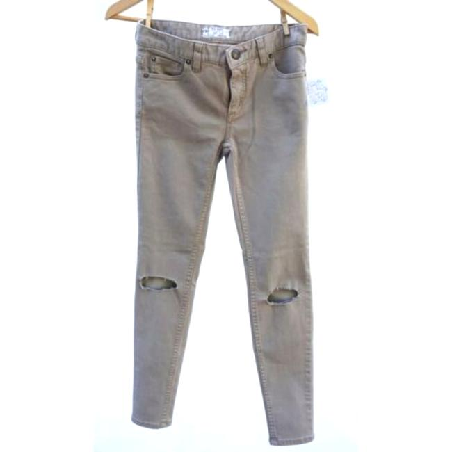 Item - Brown Busted Knee Mid Rise Beige Khaki Skinny Jeans Size 25 (2, XS)