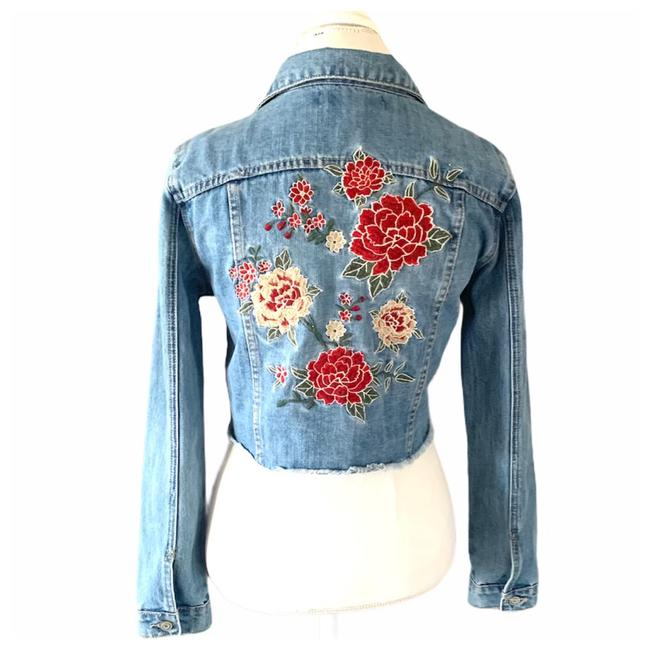 Item - Blue Embroidered Cropped Jacket Size 8 (M)