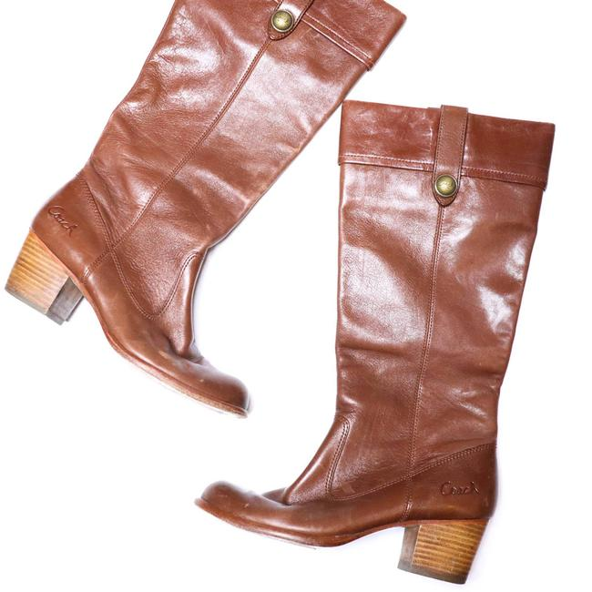 Item - Brown Fayth Tall Whiskey Leather Stacked Heel 8b Boots/Booties Size US 8 Regular (M, B)