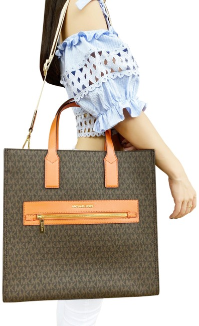 Item - Kenly Large North South Mk Signature Tangerine Brown Lambskin Leather Tote