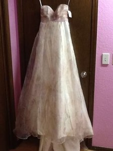 David's Bridal Multi-color Organza Strapless Printed Soft A-line Gown Destination Wedding Dress Size 0 (XS)