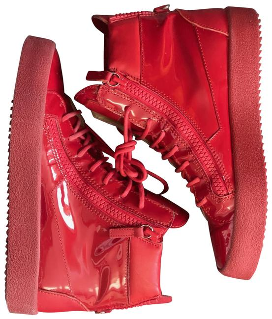 Item - Red Men's Canvas and Leather London High Top Sneakers Formal Shoes Size US 8 Regular (M, B)