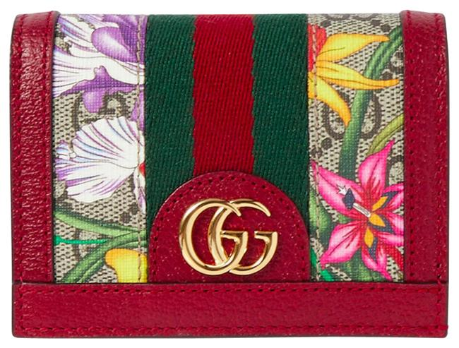 Gucci Box New Web Ophidia Floral Logo Small New Wallet Red Brown Beige Coated Canvas Leather Clutch Gucci Box New Web Ophidia Floral Logo Small New Wallet Red Brown Beige Coated Canvas Leather Clutch Image 1