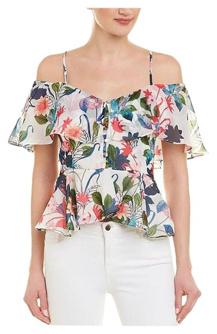 Item - White Off-the-shoulder Ruffle Floral S Blouse Size 4 (S)