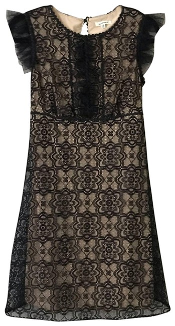 Item - Black Floral Lace Overlay Ruffle A-line Cocktail Dress Size 2 (XS)