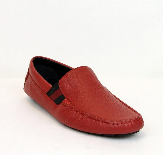 Gucci Red New Soft Leather Loafer with Brb Web 7g/Us 7.5 363835 6452 Shoes Gucci Red New Soft Leather Loafer with Brb Web 7g/Us 7.5 363835 6452 Shoes Image 1
