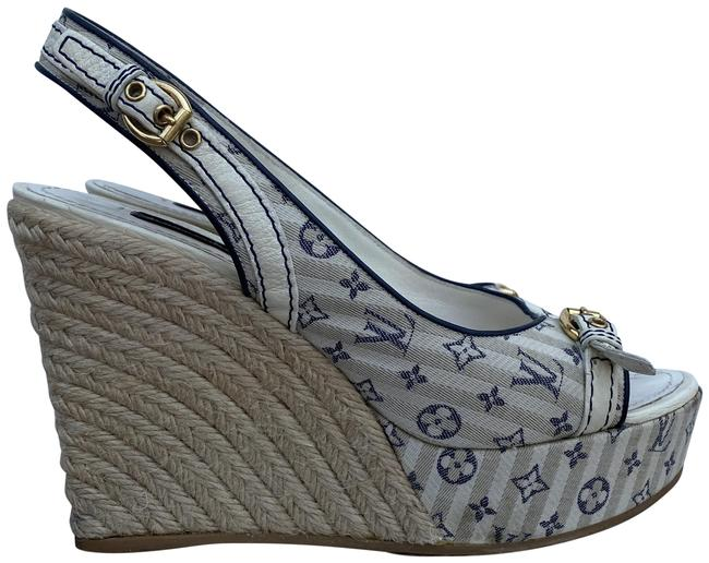 Item - Blue/White Espadrille In Monogram Idylle And Wedges Size EU 37 (Approx. US 7) Regular (M, B)