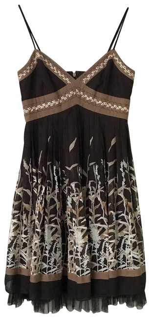 Item - Brown Pleated Babydoll Printed Mini Short Casual Dress Size 0 (XS)