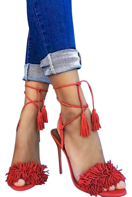 Item - Red Thing Lipstick Sandals Pumps Size EU 36.5 (Approx. US 6.5) Regular (M, B)