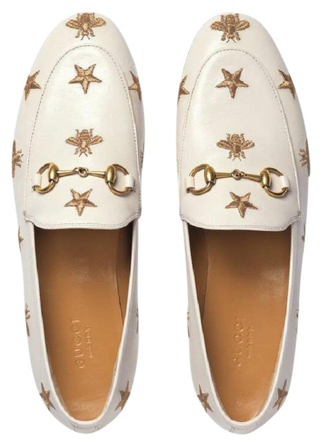 Item - White Jordaan Leather Embroidered Star Bee Loafer Mule Slipper Brixton Flats Size EU 38.5 (Approx. US 8.5) Regular (M, B)