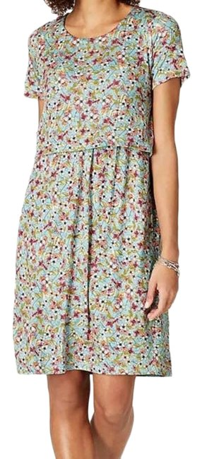 Item - Blue Floral Spring Garden Layered with Pockets Mid-length Short Casual Dress Size 2 (XS)