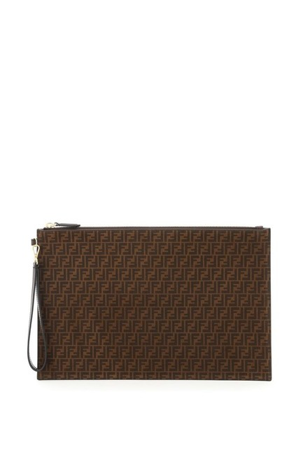 Item - Ff Motif Flat Pouch Brown Leather Clutch