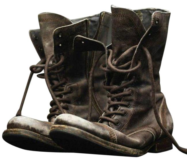 Item - Brown Tan Distressed Military Moto Lace Up Boots/Booties Size EU 37 (Approx. US 7) Regular (M, B)