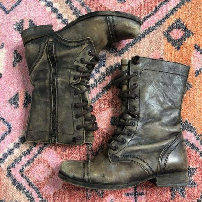 AllSaints Brown Tan Distressed Military Moto Lace Up Boots/Booties Size EU 37 (Approx. US 7) Regular (M, B) AllSaints Brown Tan Distressed Military Moto Lace Up Boots/Booties Size EU 37 (Approx. US 7) Regular (M, B) Image 3