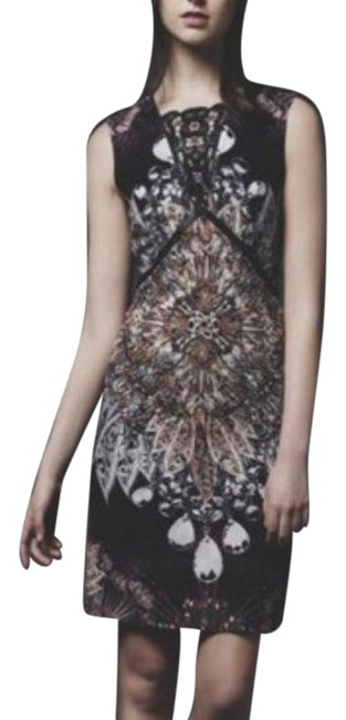 Item - Black Purple Anthro Nora Noh Kaleidoscope Sheath 2015 Mid-length Cocktail Dress Size 8 (M)