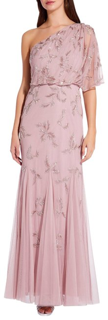 Adrianna Papell Dusted Petal One Shoulder Beaded Gown 16w Long Formal Dress Size 16 (XL, Plus 0x) Adrianna Papell Dusted Petal One Shoulder Beaded Gown 16w Long Formal Dress Size 16 (XL, Plus 0x) Image 1