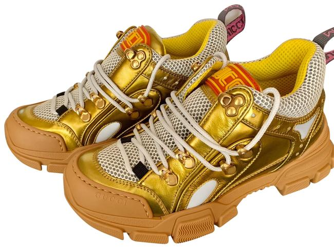 Item - Gold Flashtrek Leather Sneakers Size US 6.5 Regular (M, B)