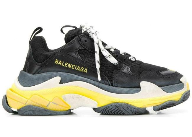 Item - Black/Yellow Triple S Clear Sole Leather Mesh Sneakers Size EU 40 (Approx. US 10) Regular (M, B)