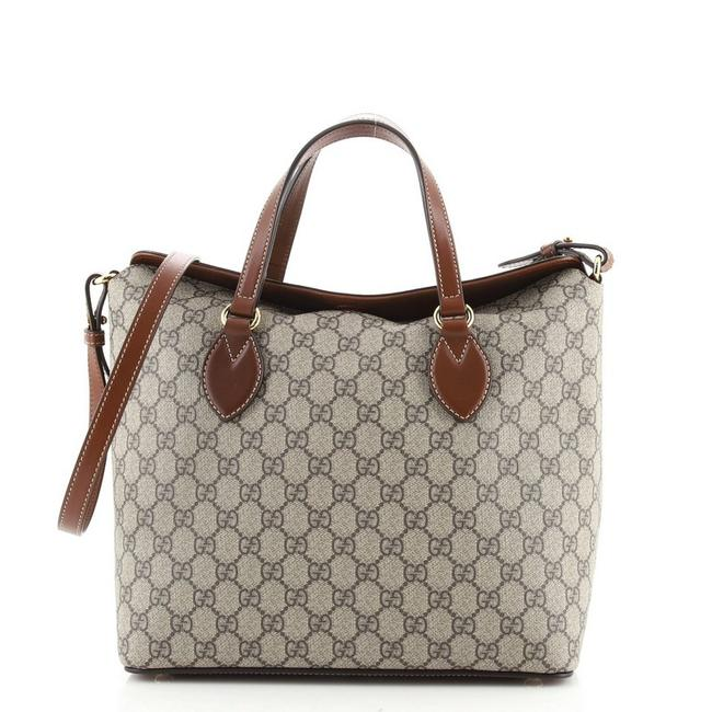 Item - Signature Fold Over Gg Coated Medium Brown Canvas Tote