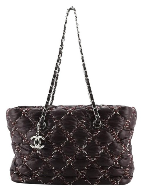 Item - Tweed On Stitch Zip Quilted Small Purple Nylon Tote