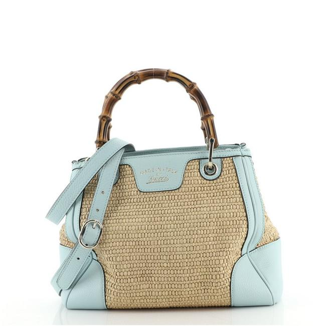 Item - Bag Bamboo Shopper Straw Small Blue Neutral Yellow Leather Tote
