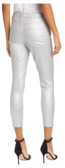 Item - Silver Coated Ali Metallic High Rise Ankle Crop Skinny Capri/Cropped Jeans Size 29 (6, M)