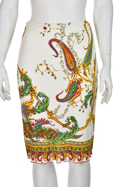 Item - White & Multi-colored Jersey Knit Paisley Print Pencil Skirt Size 6 (S, 28)
