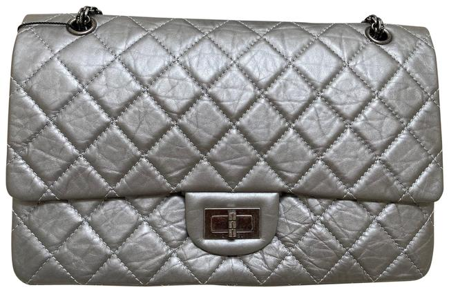 Item - 2.55 Reissue Classic Flap Metallic Quilted 227 Silver/Grey Aged Calfskin Leather Shoulder Bag