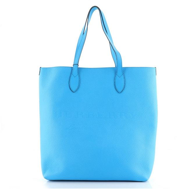 Item - Remington Embossed Tall Blue Leather Tote