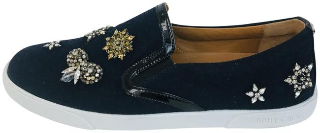 Item - Black Crystal Embellished Patent Leather-trimmed Wool Slip-on Sneakers Size EU 38 (Approx. US 8) Regular (M, B)