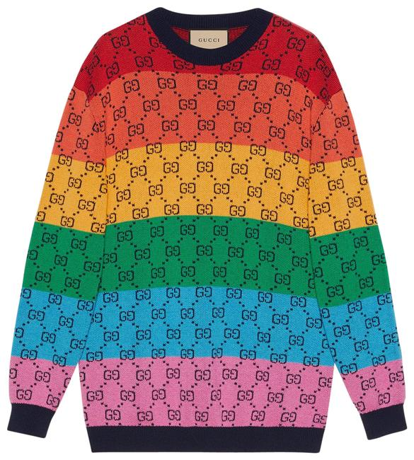 Item - Multi Color Gg Wool Cotton Sweater Sweatshirt/Hoodie Size 8 (M)
