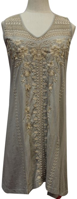 Item - Gray Embroidered Tank Sleeveless Tunic Short Casual Dress Size 6 (S)