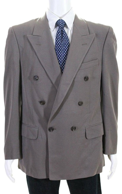 Item - Brown Mens Double Breasted Wool Blazer Jacket 42r Pant Suit Size 10 (M)