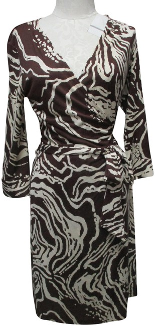 Item - Brown & Off-white Wrap Animal Print Silk Knit Mid-length Work/Office Dress Size 12 (L)