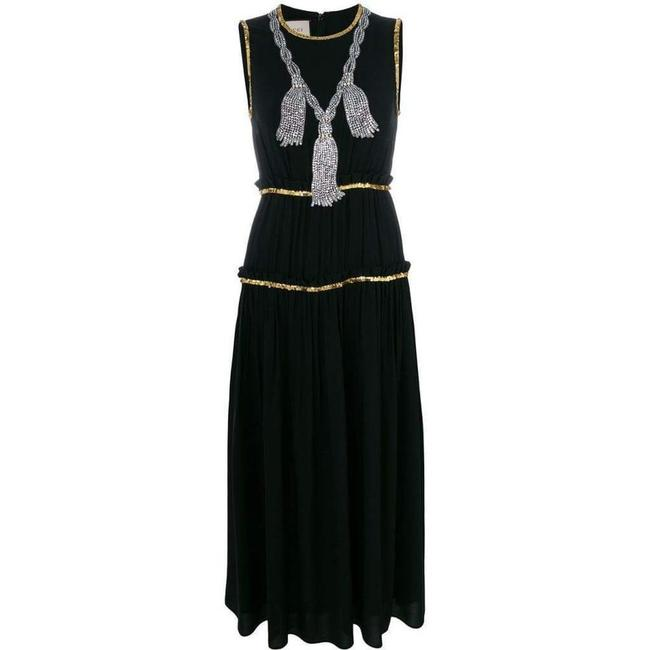 Item - Black Embellished Pleated Maxi Mid-length Cocktail Dress Size 6 (S)