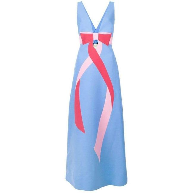 Item - Blue Floor-length Bow Detail with V Neck Gown Long Formal Dress Size 8 (M)