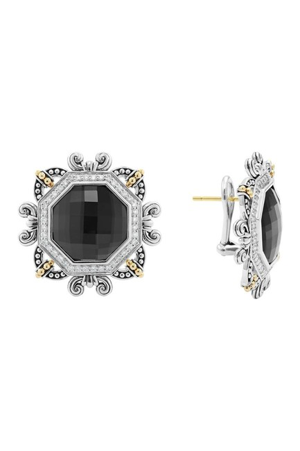 Item - Silver /Gold/Hematite Sterling 18k Etched Stud Earrings