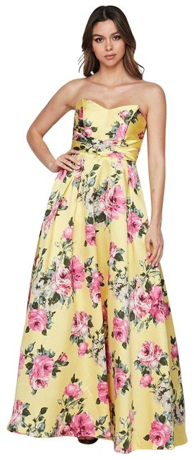 Item - Yellow Print Strapless Ball Gown 3/4 Long Formal Dress Size 2 (XS)