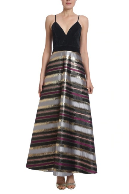 Item - Black Lame Striped Avery Gown 0 Long Formal Dress Size 0 (XS)