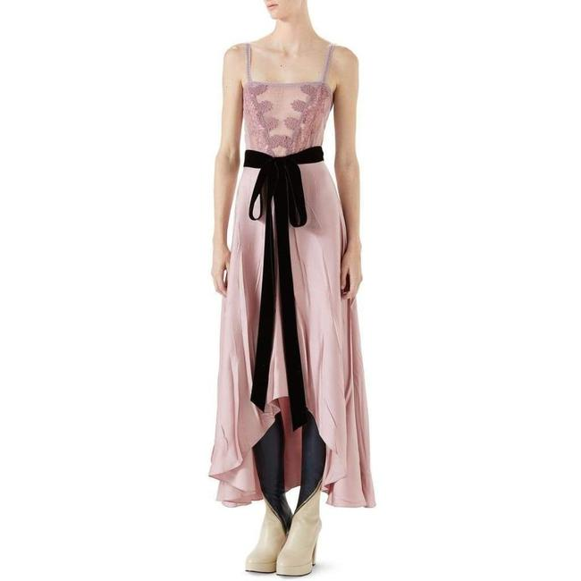 Item - Pink Double Satin Lace Insert and Tie Waist Long Formal Dress Size 6 (S)
